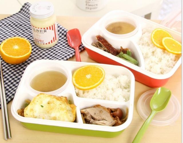 415 Lunch Box Kotak Makan Sup Yooyee 4 Sekat bento kotak bekal / bento Merah Muda