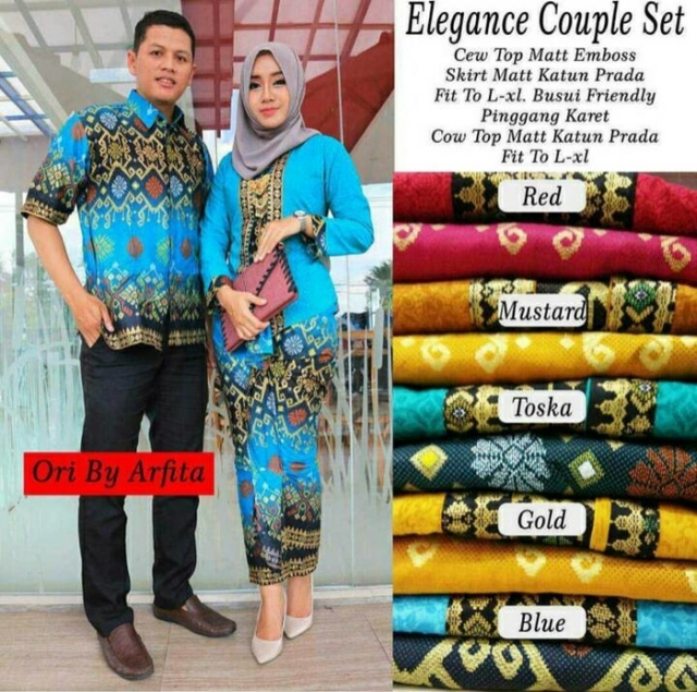 Batik Couple / Kebaya/ Batik Sarimbit Kutubaru Mercedes Barong Warna Gold
