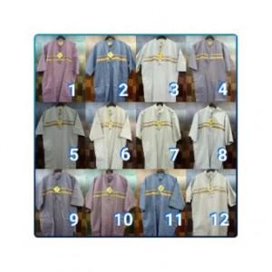 Ormano Baju Koko Muslim Batik Lengan Panjang Lebaran ZO17 KK35 Kemeja Fashion Pria - Putih.