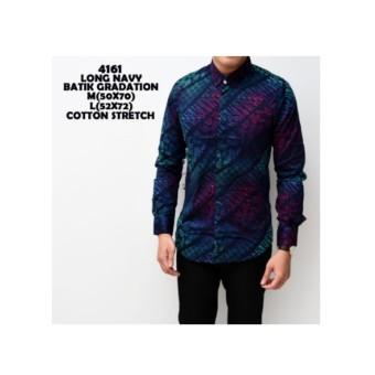 Kemeja Batik Pria Gradation Navy Panjang Slimfit Baju Batik Cowok