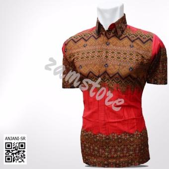 Baju Batik Pria Eksklusif Kemeja Lengan Pendek Modern Motif Anjani SR Warna Merah