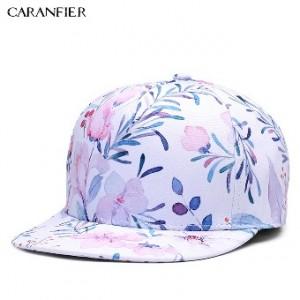 Caranfier 3D printing Baseball cap bunga pola Hip hop hat (Warna)