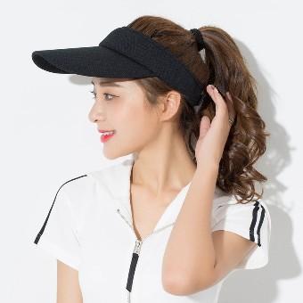 Kebugaran untuk pria dan wanita musim panas matahari topi kosong atas topi ( Hitam)