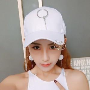 Hari pasang kasual muda topi baseball visor topi (Cincin menggantung batang besi putih)