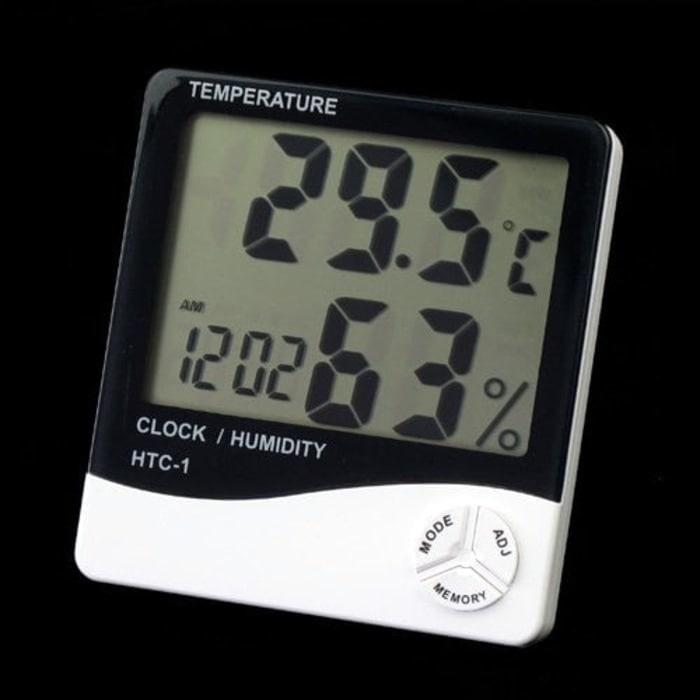 Digital thermometer hygrometer date clock kelembaban suhu alarm HTC
