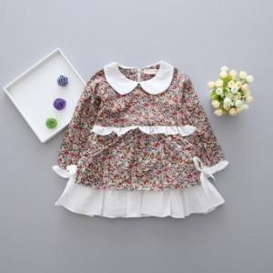 Versi Korea dari Musim Semi dan Gugur baru lengan panjang t-shirt (Coklat gelap)