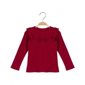 Tikus bayi Musim Semi dan Gugur baru kayu telinga leher bulat t-shirt t- shirt (Merah)