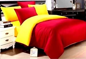 Bedcover Set Jaxine Polos Katun Prada Yellow Red 120x200