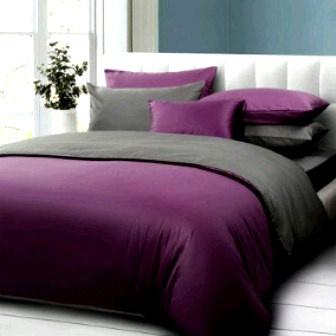 Bedcover Set Jaxine Polos Katun Prada Ungu-Abu Tua 160x200
