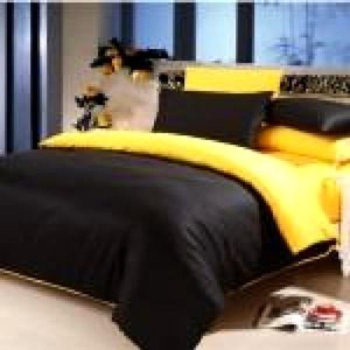 Sprei Jaxine Polos Katun Prada Yellow Black 180x200 TINGGI 30cm