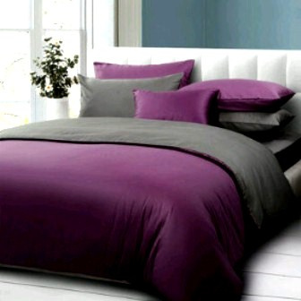 Bedcover Set Jaxine Polos Katun Prada Abu Tua-Ungu 160x200