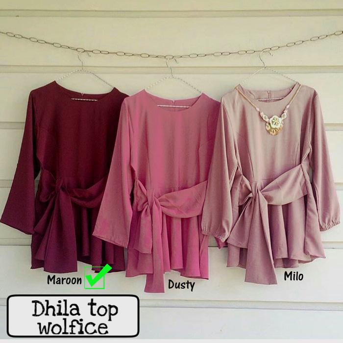 Baju Atasan - Blouse - Tunik Wanita - Baju Muslim - Blus Muslim - Dhilla Top