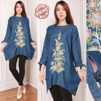 168 Collection Atasan Blouse Bordir Sakhi Kemeja Jeans Wanita