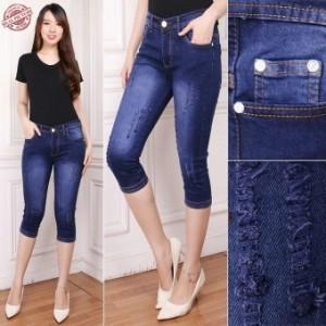 168 Collection Best Celana 7/8 Rara Jeans Pant-Biru