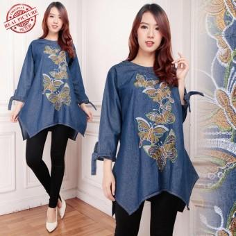 168 Collection Atasan Blouse Jeans Kirana Kemeja Jumbo Wanita -h Biru Tua