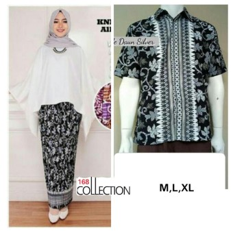 168 Collection Couple Stelan Atasan Blouse Kartini Kalong Dan Rok Plisket Batik-Putih
