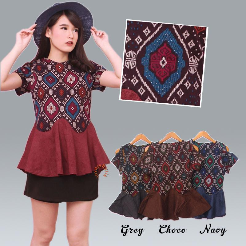 Lovely Peplum Atasan Batik Wanita/Batik Wanita Modern/Baju Batik Wanita Kerja Tanah abang