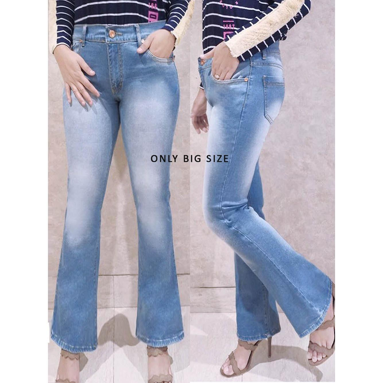 ANCIEN STORE Celana Cutbray Jeans Jumbo Wanita - Cutbray Light Wash DMD