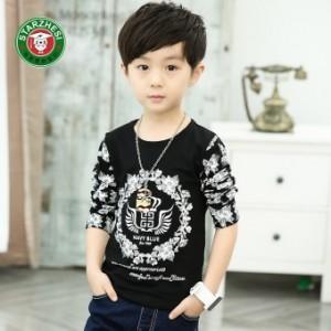 Anak laki-laki lengan panjang leher bulat anak t-shirt baru t-shirt (Hitam)