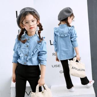 Versi Korea dari musim gugur baru gadis gadis baju kemeja (Biru)