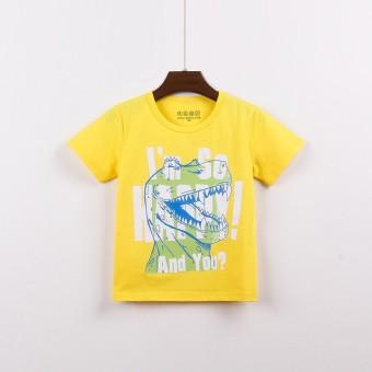Dell Kartun Katun Ao Baru T Shirt Surat Leher Bulat T Shirt Kuning