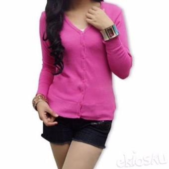 Atasan Wanita - Cardigan - Basic Cardy - Spandek Knite - Pink Fanta;;