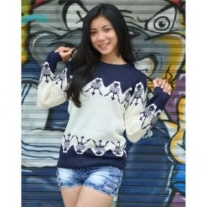 3K Women Anch Tribal Sweater - Rajut Tribal - Navy;;;;