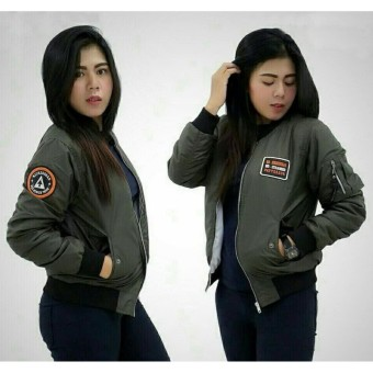 3K Jaket Bomber Wanita KickSogar - Despo - Hijau Army;;;;