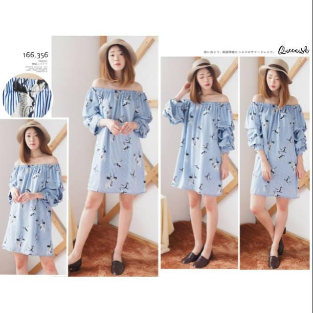 166356 Fashion Baju Outfit Pakaian Dress Gaun Sabrina Pesta Party