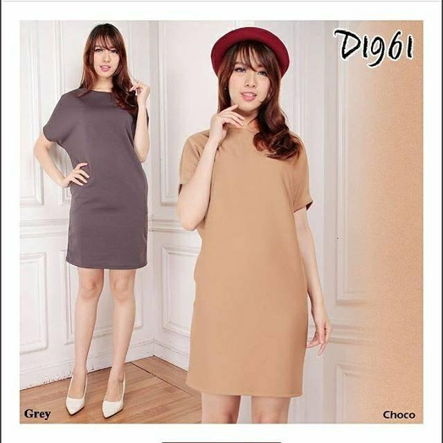 D1961 Fashion Baju Outfit Pakaian Dress Gaun Casual Maxy Big Size