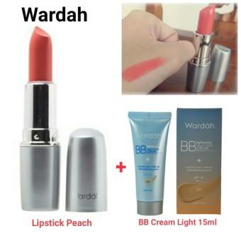 Wardah Lipstick Matte Peach 1Pc + Wardah Lightening Bb Cream Spf 32 Light 15Ml