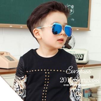 Retro logam bulat bingkai filter warna yurt kacamata hitam untuk anak-anak