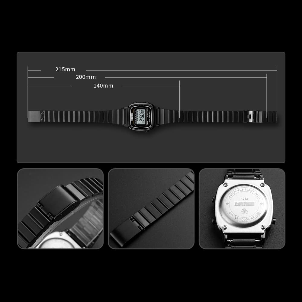Jam Tangan Wanita Digital Rantai Original Skmei 1252 Anti Air Silver Beli Sekarang
