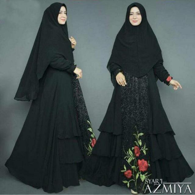 Jual Dh 9366 Azmia Premium Maxi Dress Terusan Gamis Syari Hijab