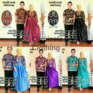 batik couple / gamis / batik sarimbit gamis barong velvet ungu